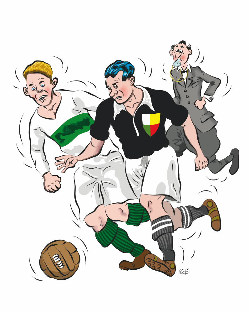 Alt Dva hráči fotbalu v souboji o míč - ilustrace